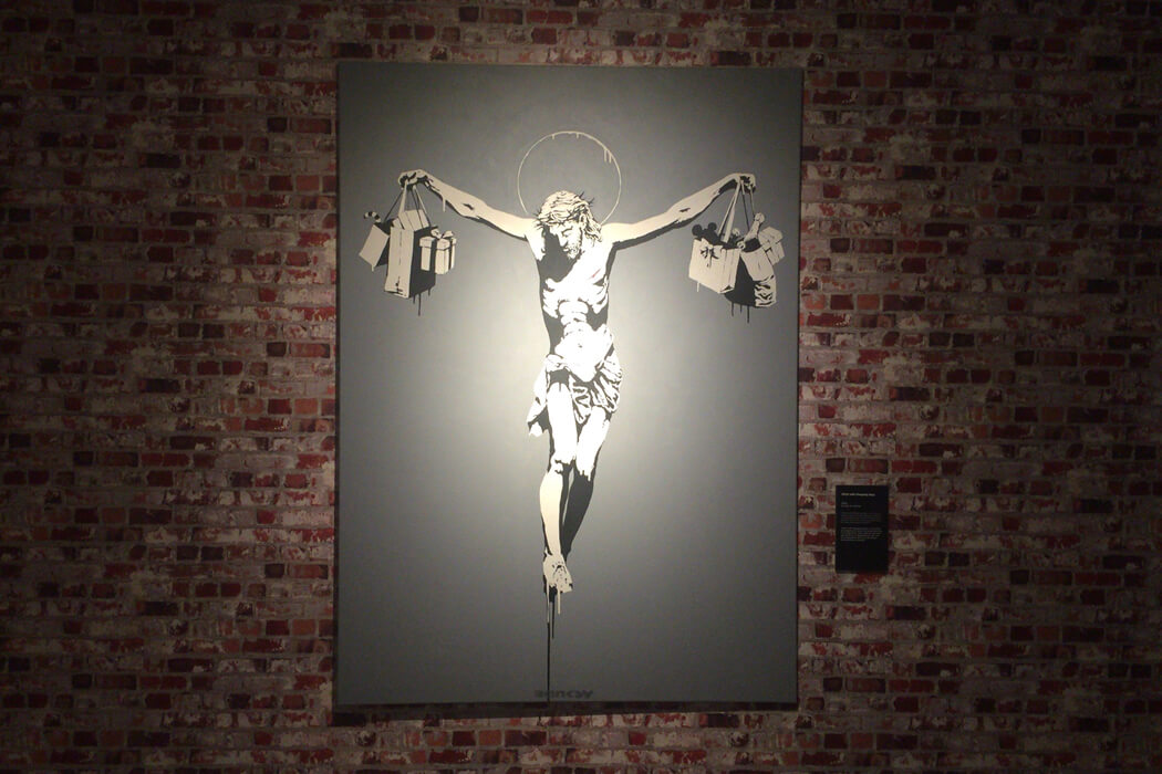 Banksy 'Christ with Shopping Bags' キャンバス作品
