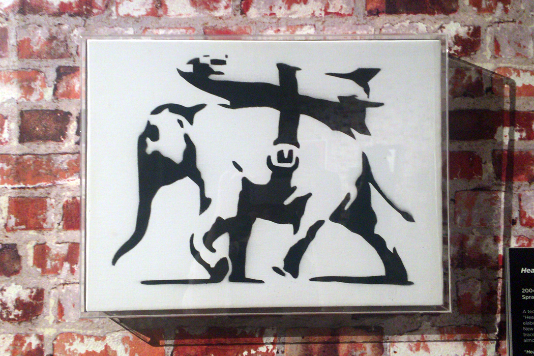 Banksy 'Heavy Weaponry' アクリルで額装したキャンバス