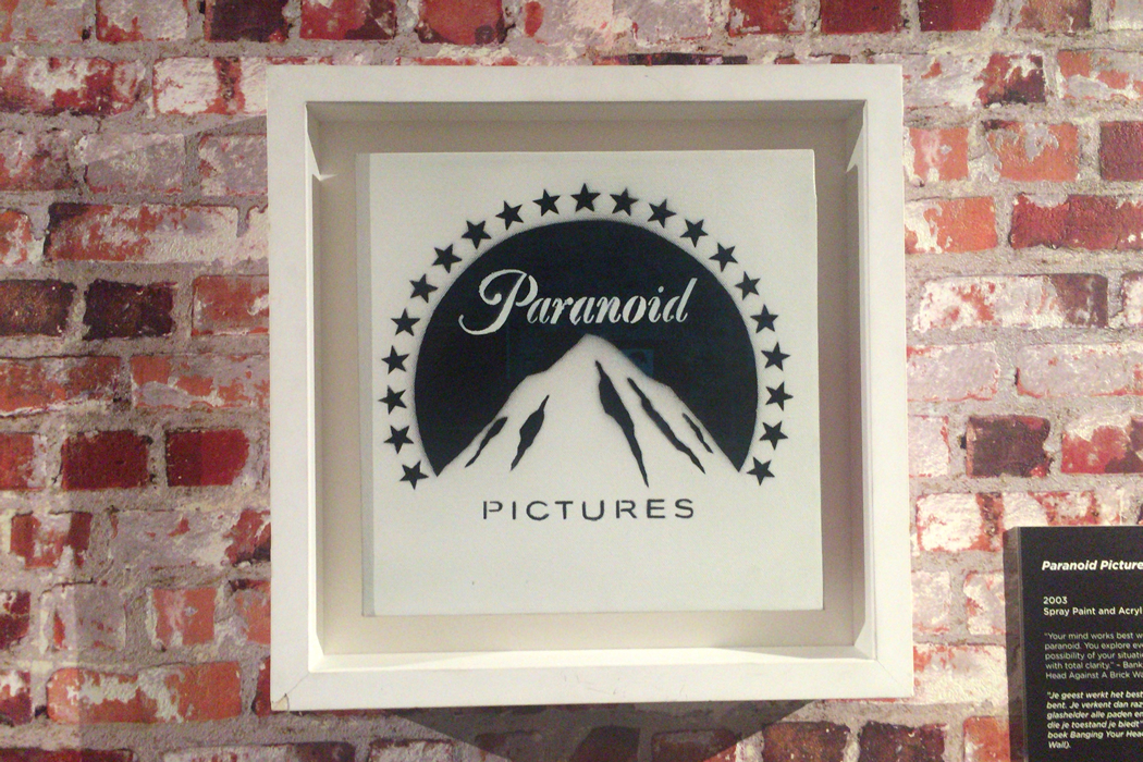 Banksy 'Paranoid Pictures' 額装したキャンバス作品